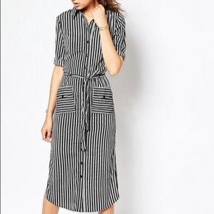 ASOS TALL Stripe Midi Shirt Dress With Belt